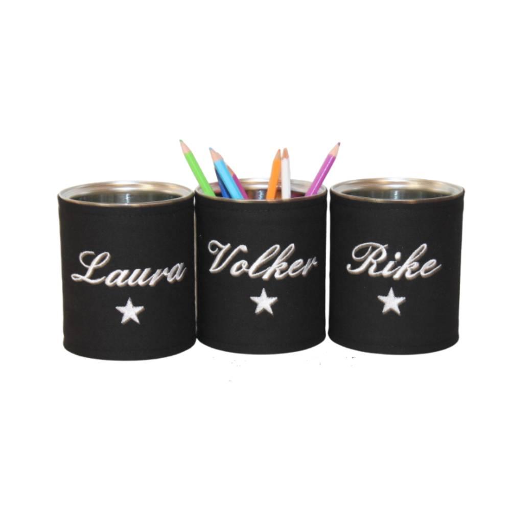 Personalisierte Stiftebox in Wunschfarben mit Motiv: Herz oder Stern Bild 1