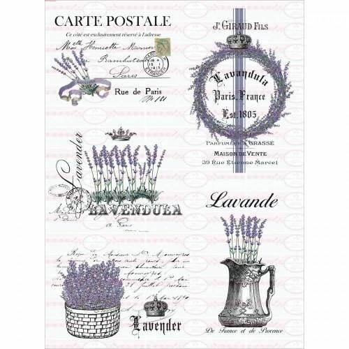 5 Bügelbilder auf A4 Vintage Shabby Lavendel Lavender French Paris NO. 1558