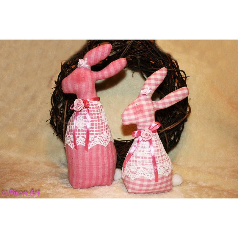 Zuckersüßes Hasenpärchen - rosa-weiß Bild 1