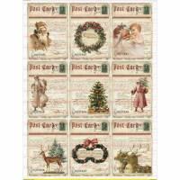 Bügelbild Santa Claus Weihnachten Christmas rot Reh Merry Vintage A4 NO. 1691 Bild 1