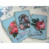 3 schöne Postkarten, Grußkarten, Deko-Karten als Set mit romantischen Vintage Rosen. Bild 1