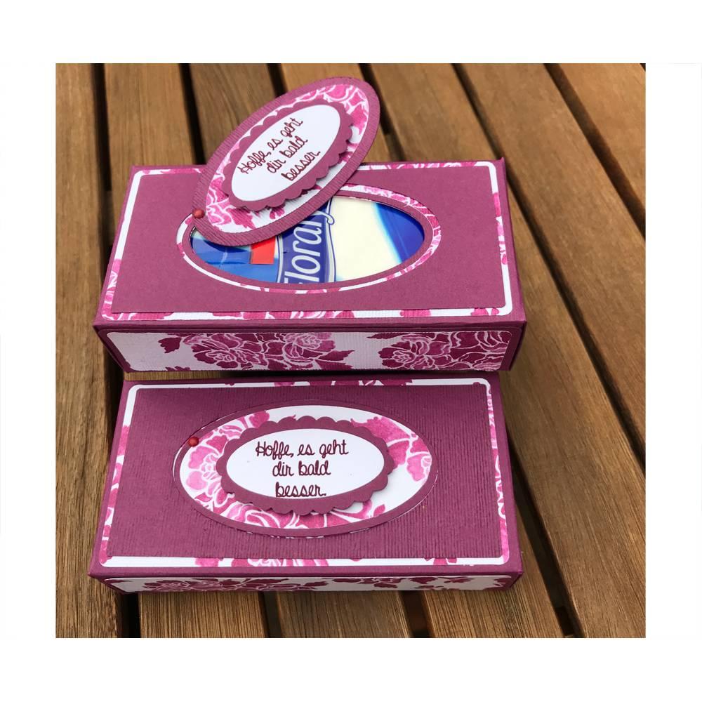 """Krankenbesuch: Taschentuchbox  + TeegeschenkTüte """"Hoffe, es geht dir bald besser"""" & """"Tee tut immer gut"""" Bild 1"""