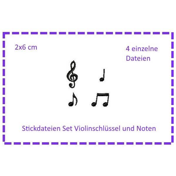 SET Violinschlüssel & Noten Stickdateien Bild 1