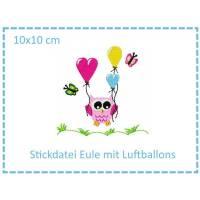 Eule mit Luftballon 10x10cm Stickdatei Bild 1