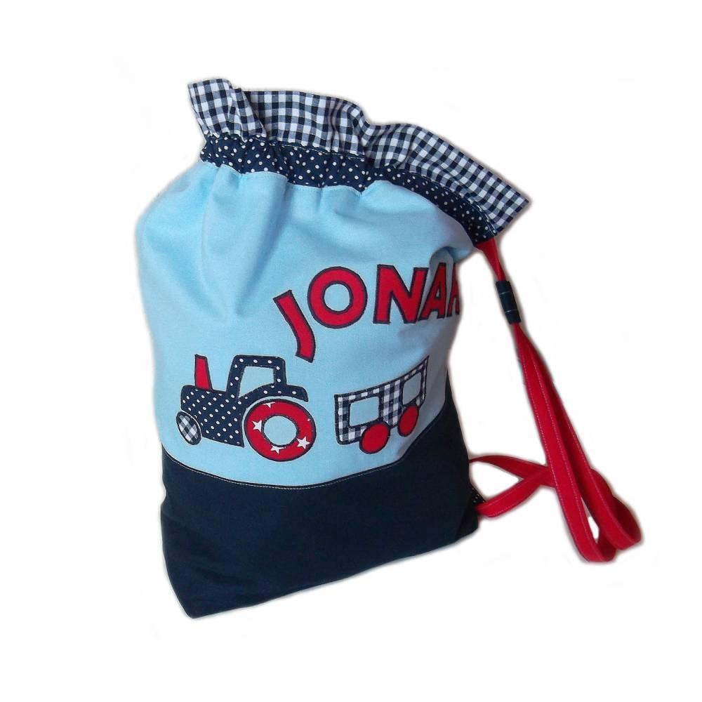 Turnbeutel /Wäschebeutel Traktor für Jungen Bild 1