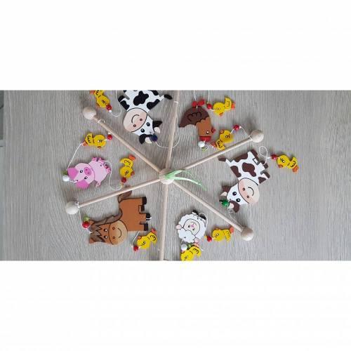 Mobile Bauernhoftiere, Kinderzimmer, Tiere, Holz, Baby, Mobile, Tiere auf dem Bauernhof, Babyspiel