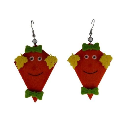 Handgemachte Ohrringe Drachen Filz orange leicht am Ohr 8475