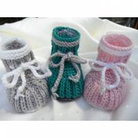 Babyschuhe für Neugeborene, handgestrickt, 100 % Wolle (Merino) Bild 1