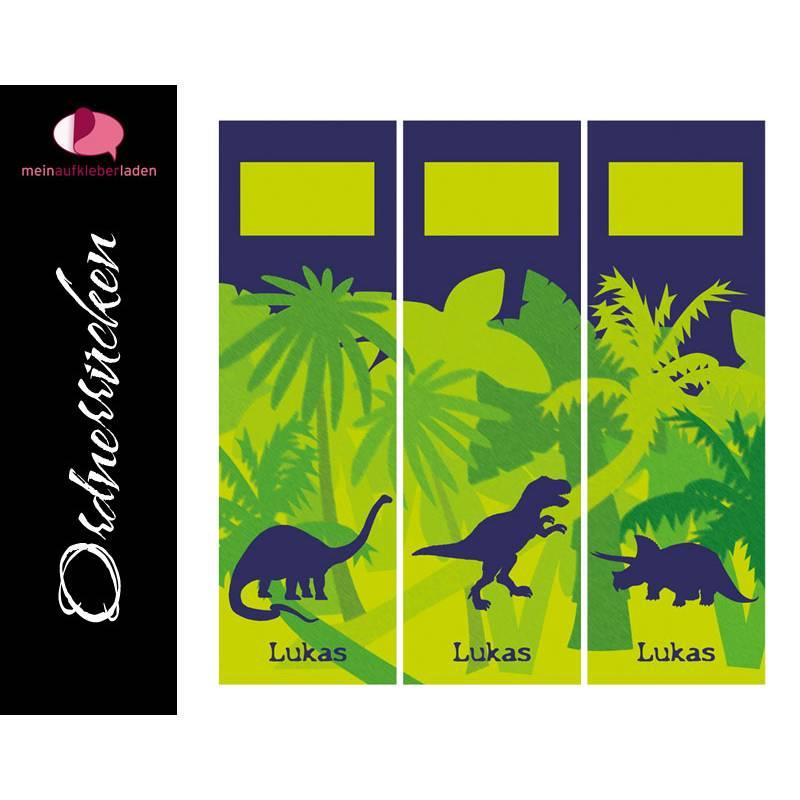 Ordnerrücken Aufkleber - Dinos | 3 er Set Aufkleber für breite Ordner - personalisierbar Bild 1