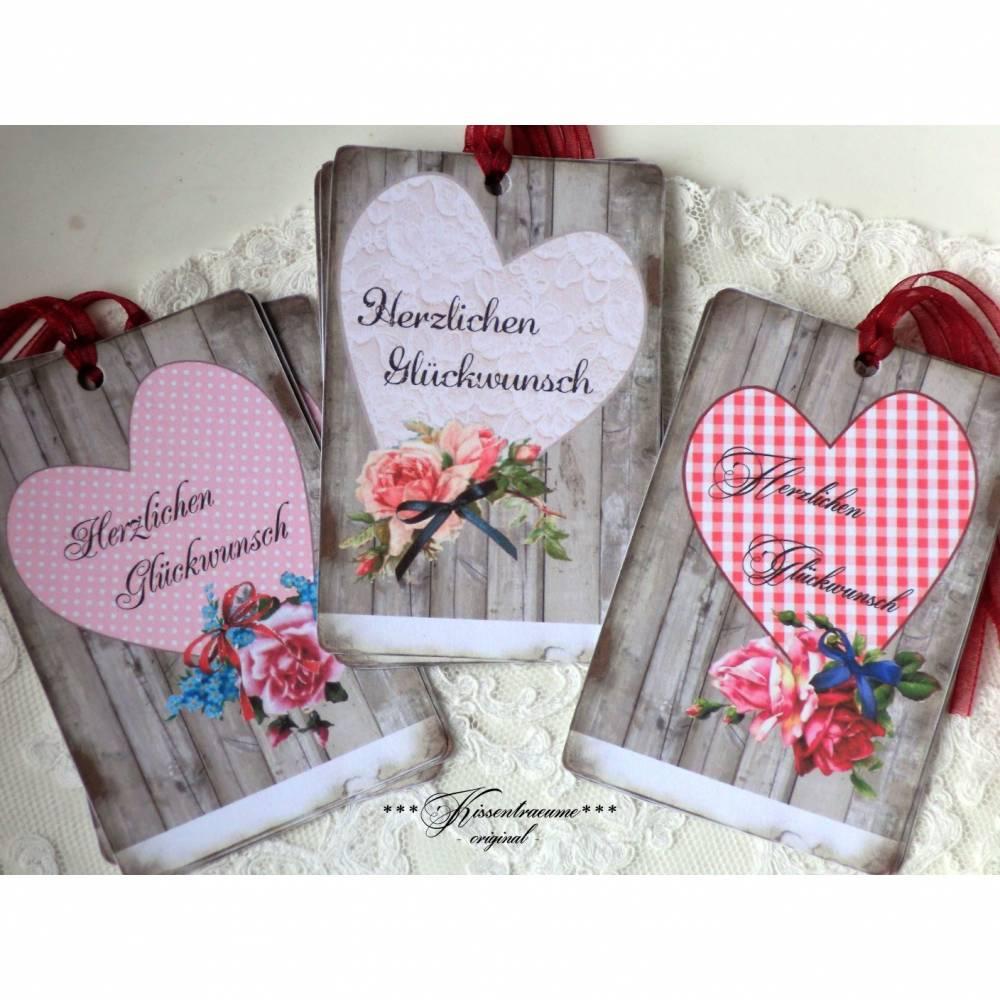 Geschenkanhänger, Papieranhänger, Geburtstagsanhänger als 9-er Set, mit großem Herz & Glückwunsch Spruch. Bild 1