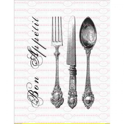 """Vintage Bügelbild """" Bon Appetit """"Silberbesteck Shabby Vintage A4 NO. 760"""