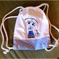 kleiner dekorativer Kinderturnbeutel aus Baumwolle mit Seemann Bild 1