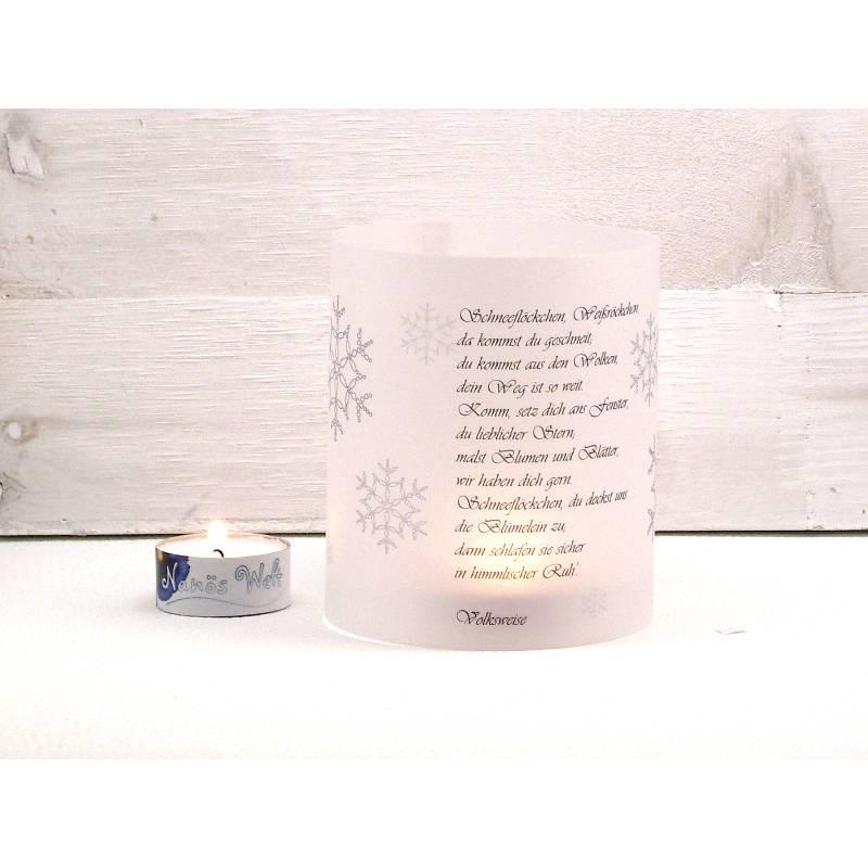 Windlicht Lichthülle mit Gedicht Schneeflöckchen Bild 1
