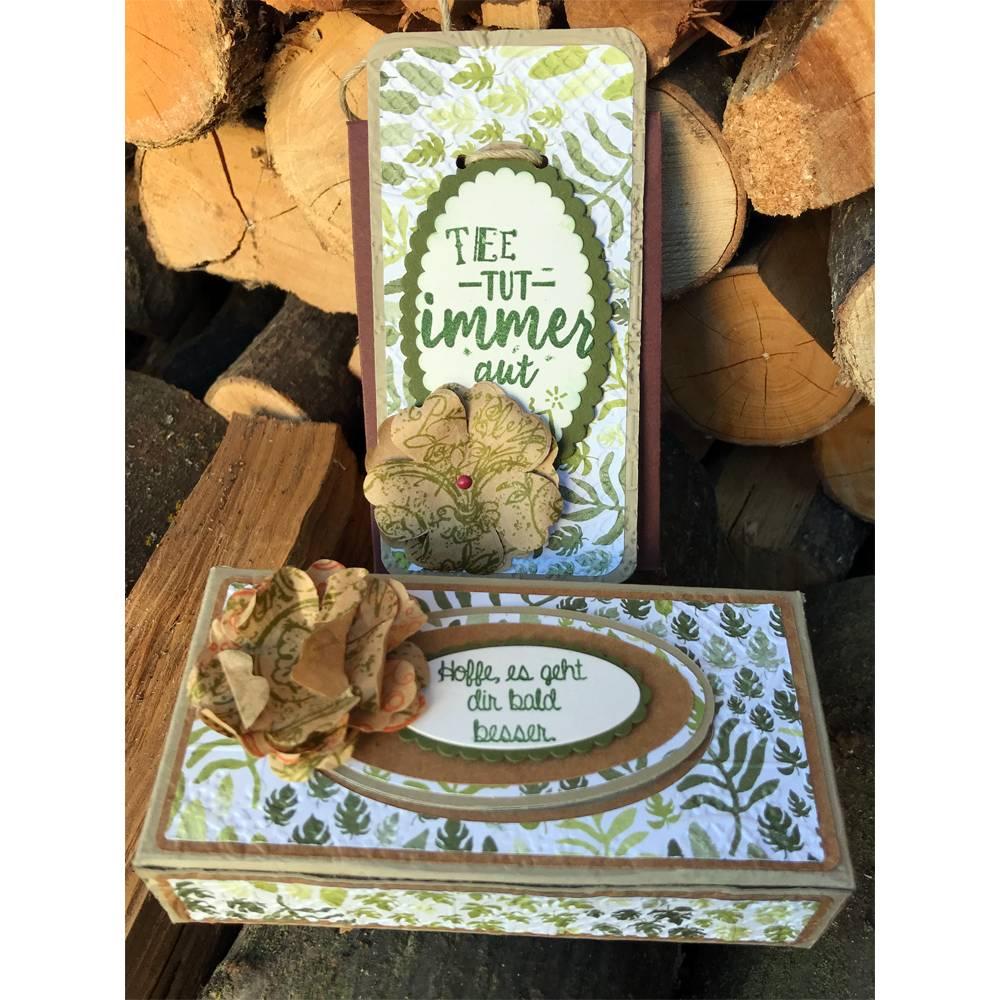"""Box mit ovalem Schiebedeckel für Taschentücher + TeegeschenkTüte  """"Hoffe, es geht dir bald besser"""" & """"Tee tut immer gut"""" (Beige) Bild 1"""