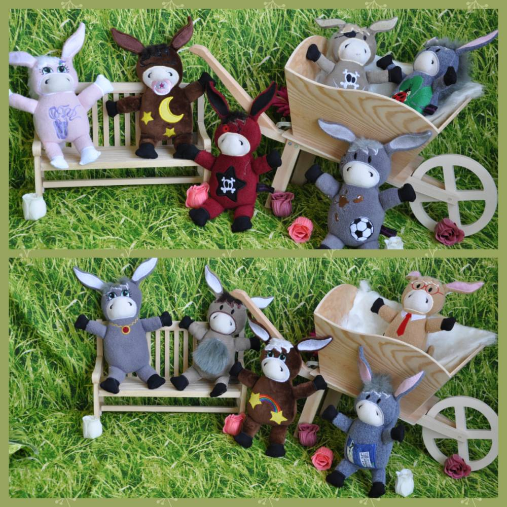✿✿ Kuscheltier Esel, verschiedene Motive, 2 Grössen, freie Farbwahl ✿✿ Bild 1