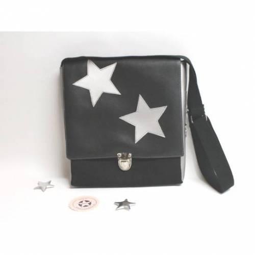 """Tasche """"TAX"""" in schwarz und silber mit Sternen aus Kunstleder und Canvas"""