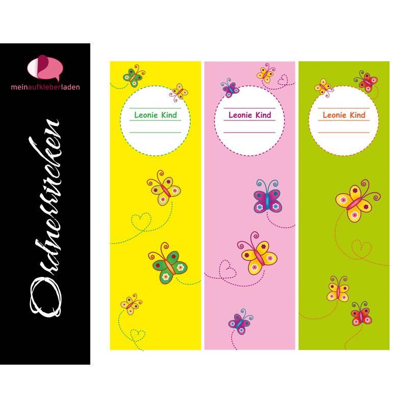 Ordnerrücken Aufkleber - Schmetterlinge | 3 er Set Aufkleber für breite Ordner - personalisierbar Bild 1