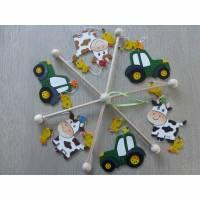 Mobile Traktor, Babymobile, Kinderzimmer, Traktor, Tiere, Holz, Baby, Geschenk, Geburt, Taufe, Mobile, Bauernhof, Junge, Babybett, Babyspiel Bild 1