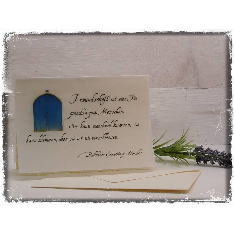 Karte Freundschaft ist eine Tür Sinnspruch Gedicht Bild 1