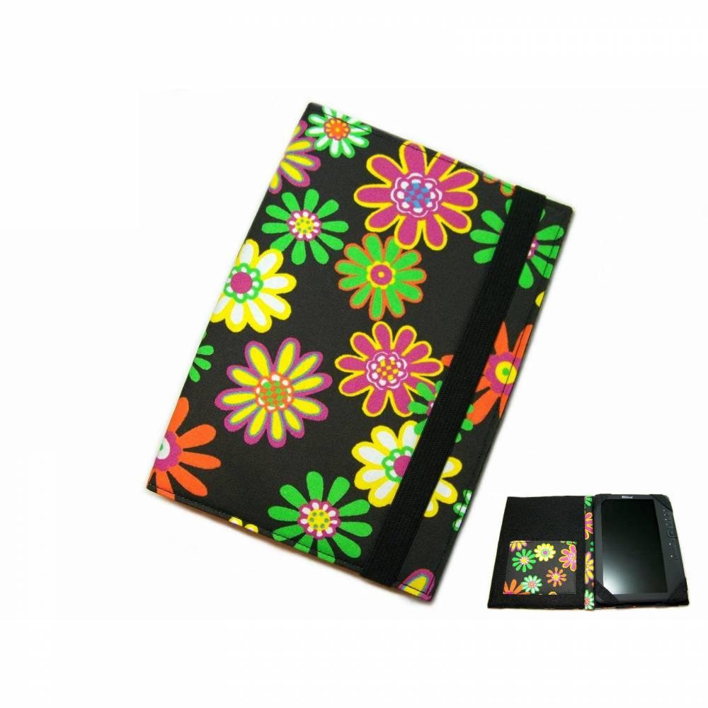 aufklappbare Tablet Hülle Happy Flower schwarz bunt bis max. 8 Zoll, Maßanfertigung Bild 1