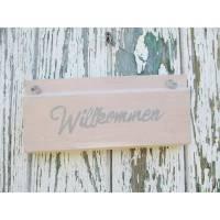 Holzschild im ShabbyChic ~ WILLKOMMEN~ Rosa - Grau Bild 1