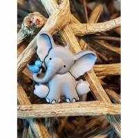 Polyester Knopf öse Elefant mit Vogel Bild 1