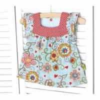 Sommerbluse - 86/92 Bluse hellblau/rot-weiß -Gartenträume- von olilu Bild 1