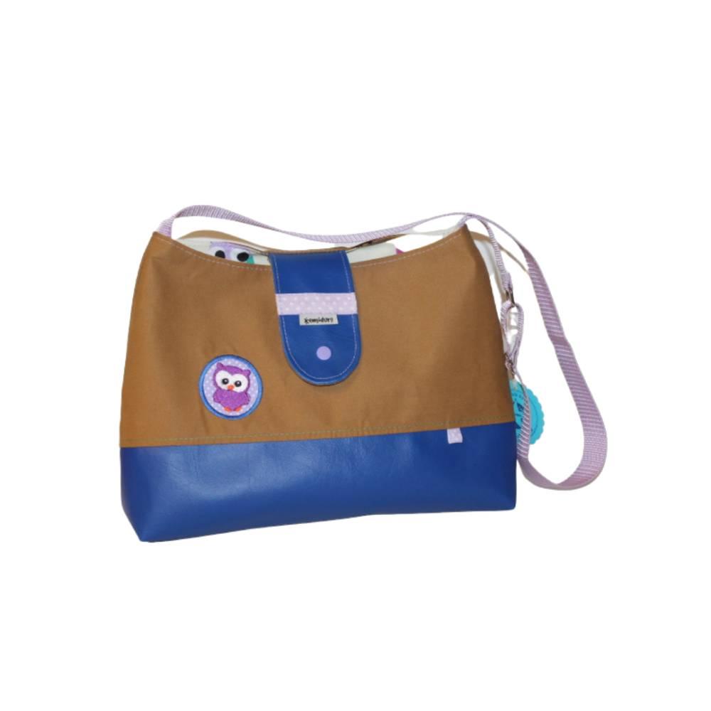 Kindertasche aus Kunstleder und Baumwolle mit Eule in blau und hellbraun Bild 1
