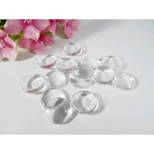 Glas Cabochons 16mm, rund, durchsichtig