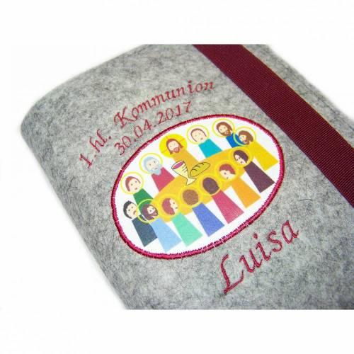 Gotteslobhülle Hülle für Gotteslob Merino Wollfilz Filz Stickerei 1.hl. Kommunion inkl. Name + Datum + Abendmahl Aufnäher Geschenk Kommunion