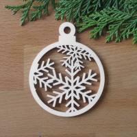 Baumhänger Kugel Schneeflocke Sibirien aus Holz  Bild 1