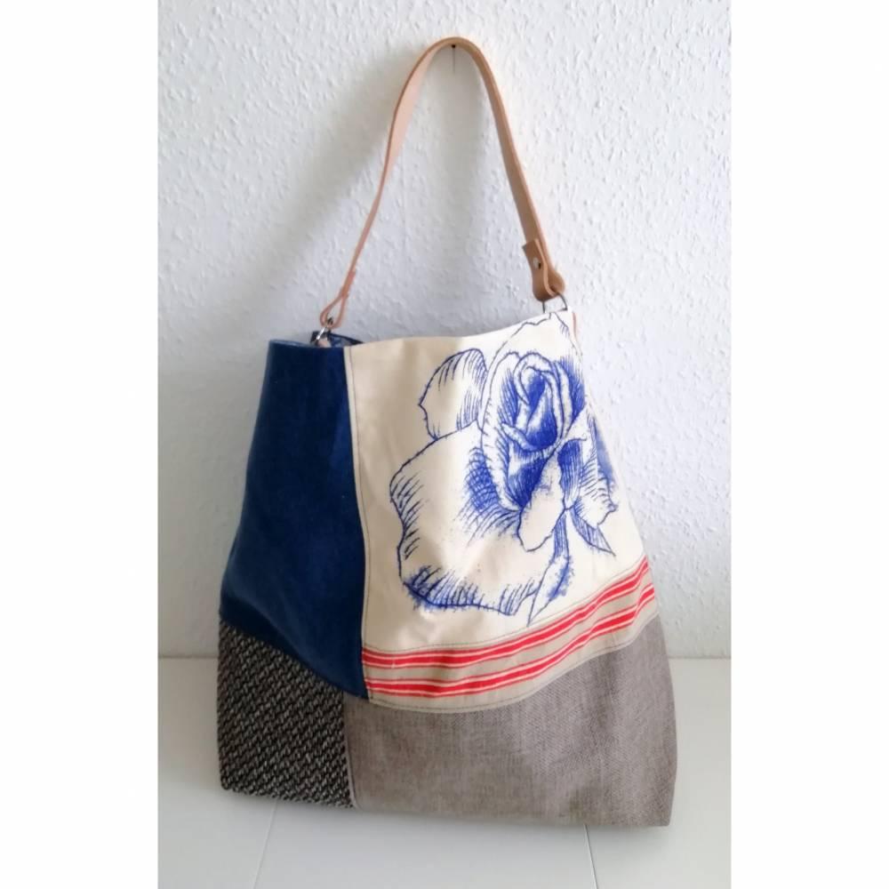 Shopper, Umhängetasche, blau-brauner Farbmix Bild 1