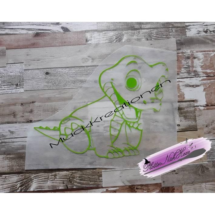 Bügelbild Kroko Krokodil Plott von MuckKreationen Kontur grün Bild 1