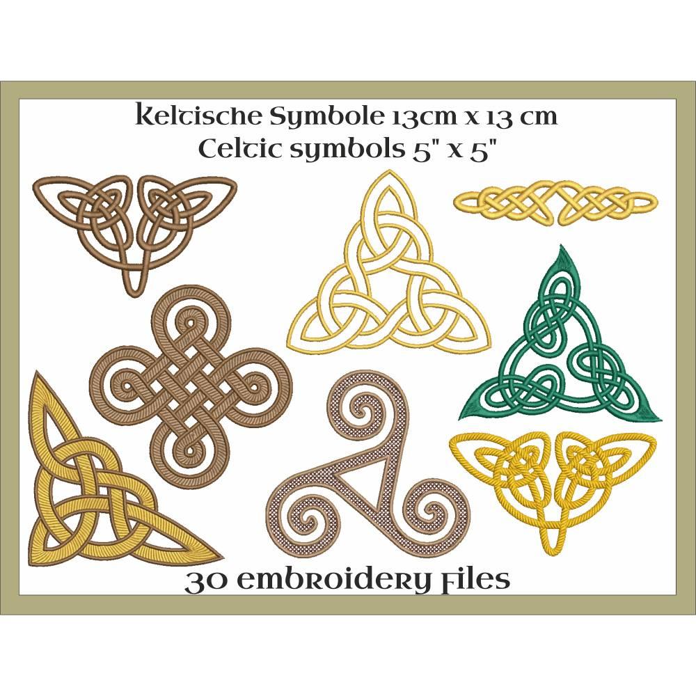 Keltische Symbole Stickdateien Set 13x13cm Bild 1