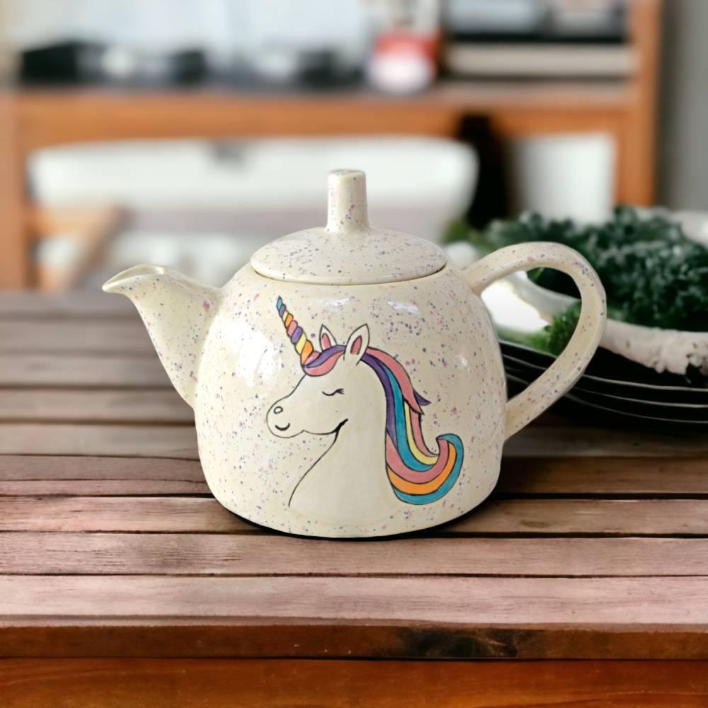 Teekanne Einhorn, 1l, Keramik handbemalt Bild 1