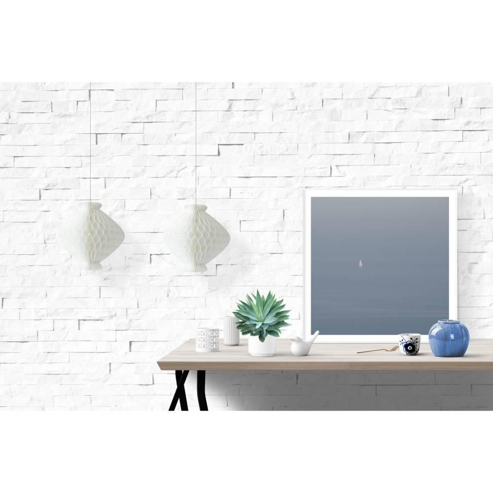 Minimalistische Wandkunst Blau // Zen Spa Dekor // Meer Segelboot Boot Wasser Wellen // Maritim Minimalistisch Kunstdruck, 3 Größen Bild 1