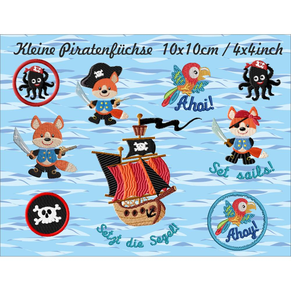 Kleine Piratenfüchse Stickdateien Set 10x10 cm Bild 1