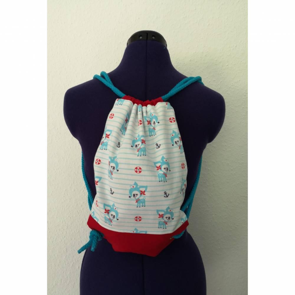 Kinderturnbeutel aus Jersey und Baumwolle hellblau/rot/weiß mit Rehen Bild 1