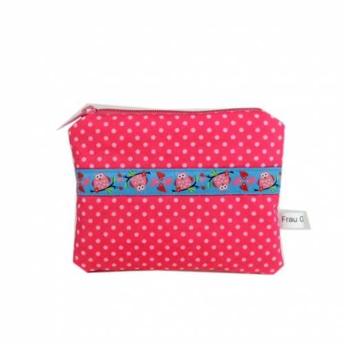 Täschchen Mäppchen Börse Etui Geldbörse Kinder handmade rosa Punkte Eulen pink