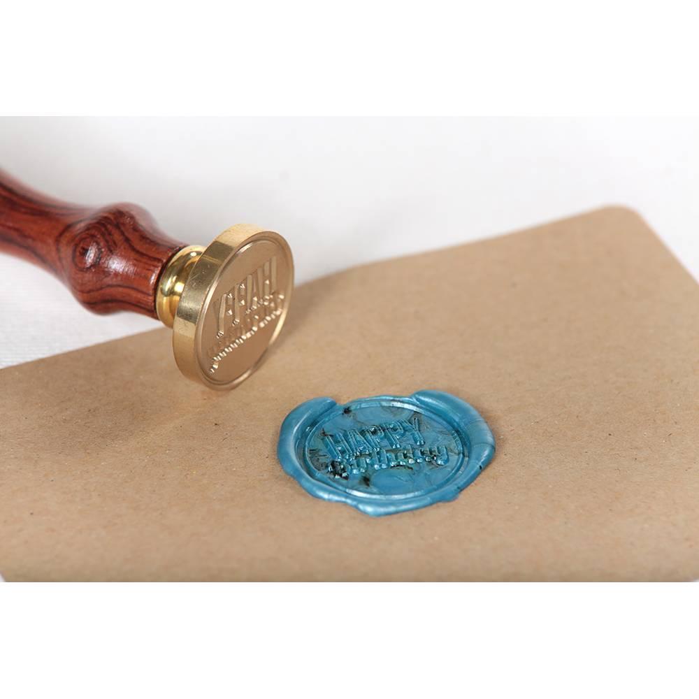 """Siegelstempel """"Happy Birthday"""" ♥ 30mm Durchmesser ♥ massive Messingplatte auf Holzgriff montiert Bild 1"""