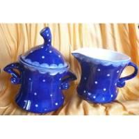 Süße Zuckerdose und Milchkännchen Einzelstück,blau,Pünktchen,Set, Bild 1