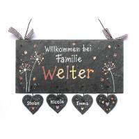 Schieferheld Namensschild, Türschild Schiefer personalisiert, Namensschild Familie handbemalt Bild 1