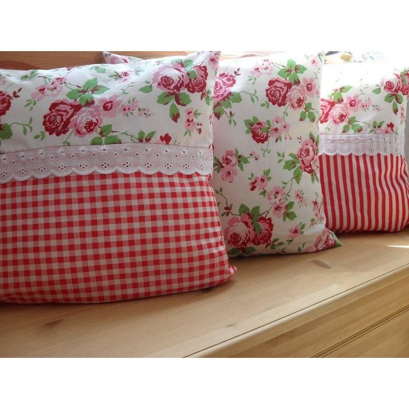 3 Set Kissen Rot Weiss Streifen Vichy Karo Rosen