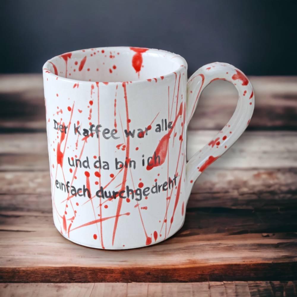 Tasse, Splatterdesign, Kaffee, 350ml, Keramik handbemalt Bild 1