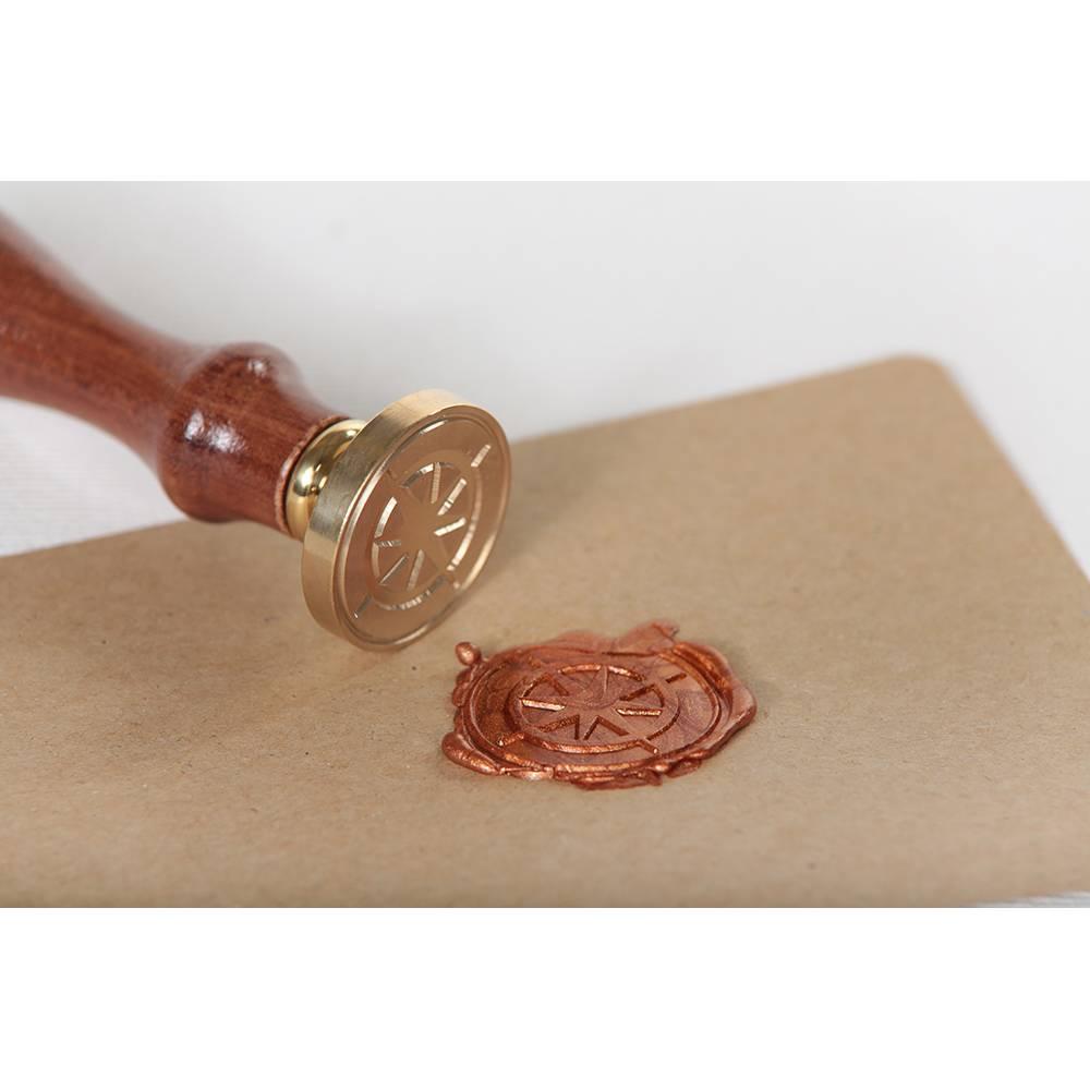 """Siegelstempel """"Kompass"""" ♥ 30mm Durchmesser ♥ massive Messingplatte auf Holzgriff montiert Bild 1"""