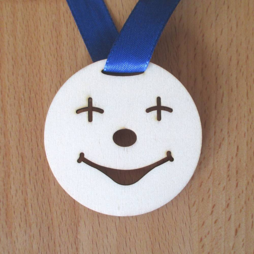 Medaille Smile aus Holz, Orden, Clown Bild 1