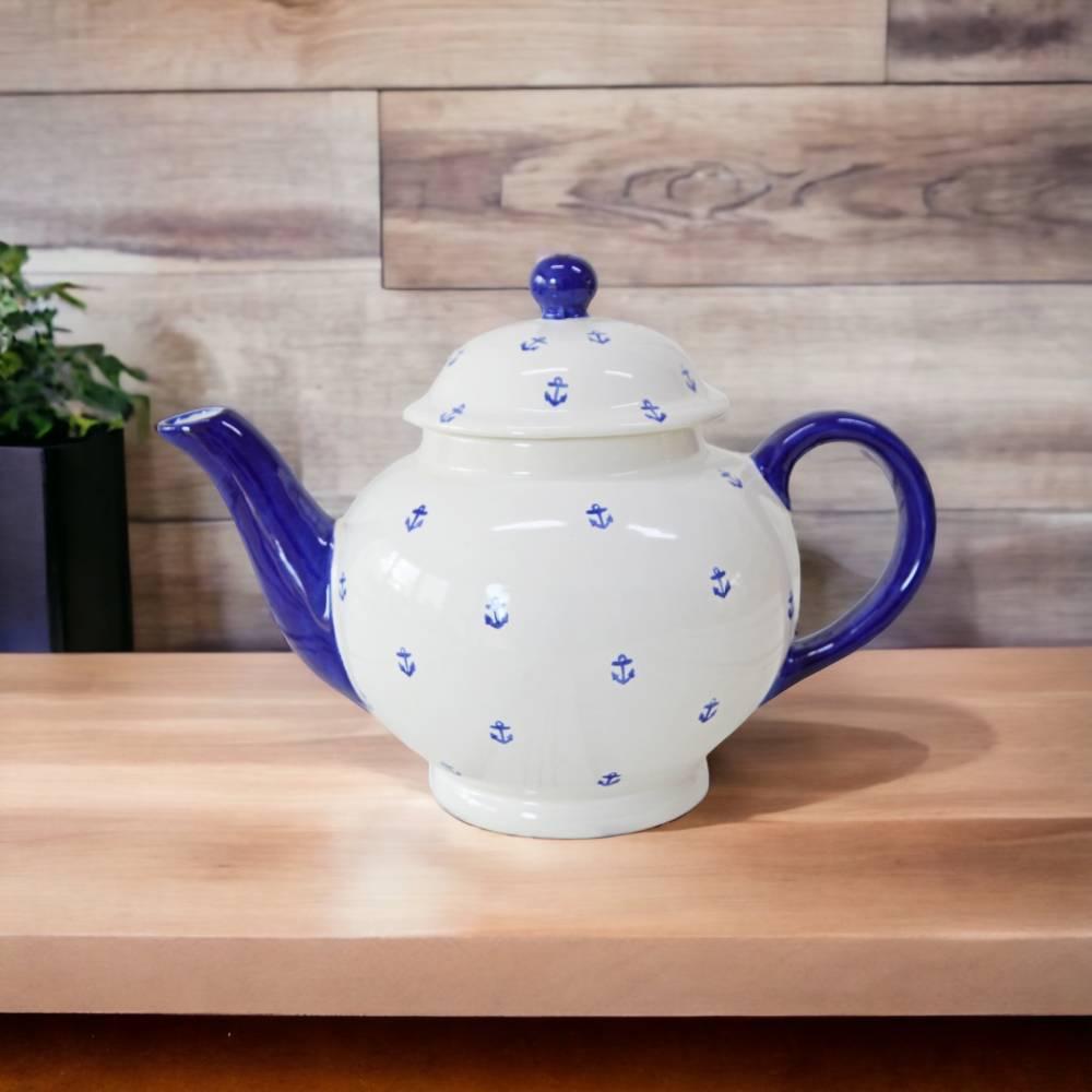 Teekanne maritim mit Ankern, 1l, Keramik handbemalt Bild 1