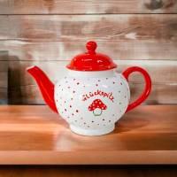 Teekanne Glückspilz, 1l, Keramik handbemalt Bild 1