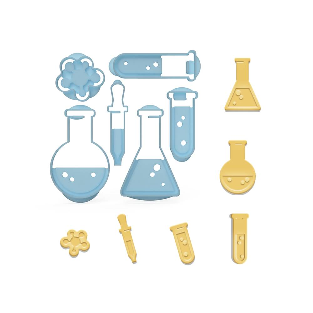6er Keksausstecher Set Chemie Chemistry Ausstecher Labor Ausstechformen ideal als Geschenk  Bild 1
