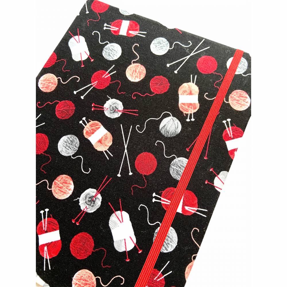 """Notizbuch Projektbuch """"Wool&Needles"""" Blanko ähnlich A5 17,5 x 23 cm Hardcover stoffbezogen Strickzubehör Stricke Bild 1"""